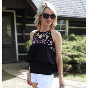 Zara Floral Embroidered Halter Neck Top in Black